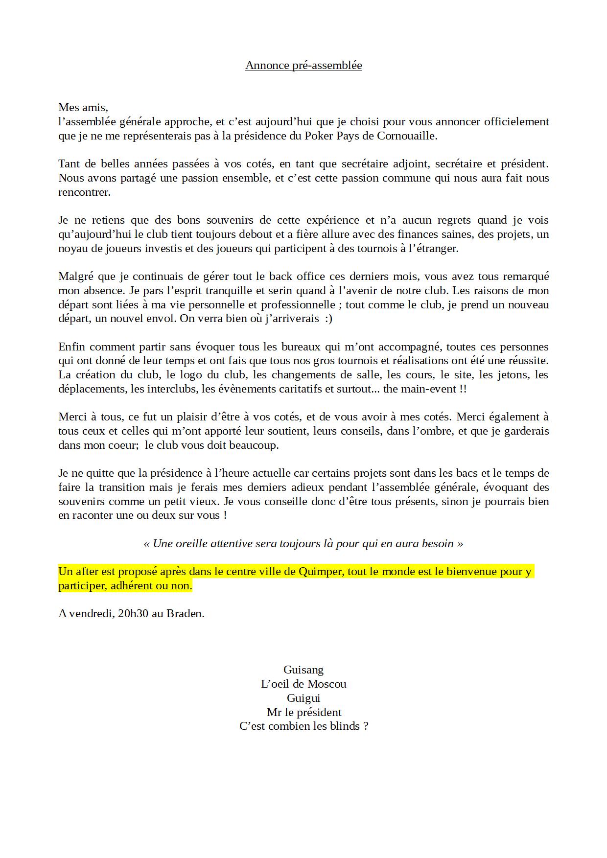 annonce de Guillaume Péron, Guisang président du club de poker